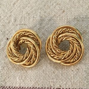 Vintage '80s '90s Knot Gold Tone Earrings
